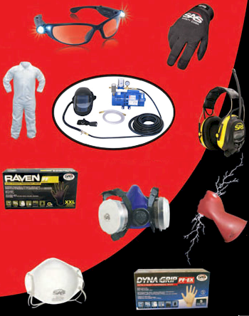 Respiratory, Hearing, Eye, Hand/Body protection products and First-Aid Kits by SAS